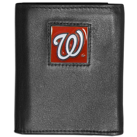 Washington Nationals Black Leather Wallet with Inside Canvas Liner