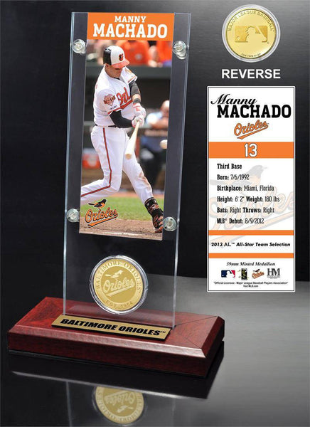 Baltimore Orioles Manny Machado Ticket & Bronze Coin Desk Top Acrylic (HM)