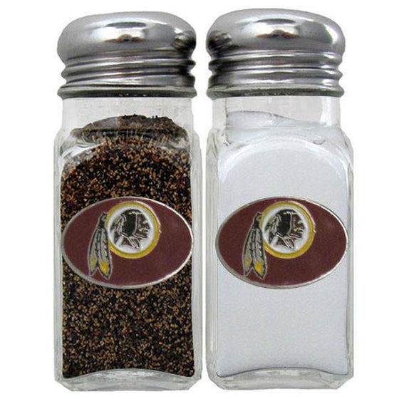 NFL Washington Redskins Salt & Pepper Shakers Glass w/ Metal Top