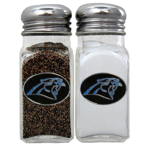 NFL Carolina Panthers Salt & Pepper Shakers Glass w/ Metal Top - 757 Sports Collectibles