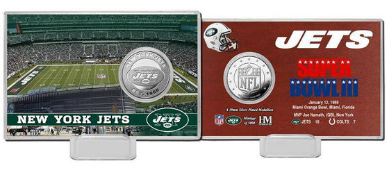 New York Jets Super Bowl Silver Coin Card (HM) - 757 Sports Collectibles