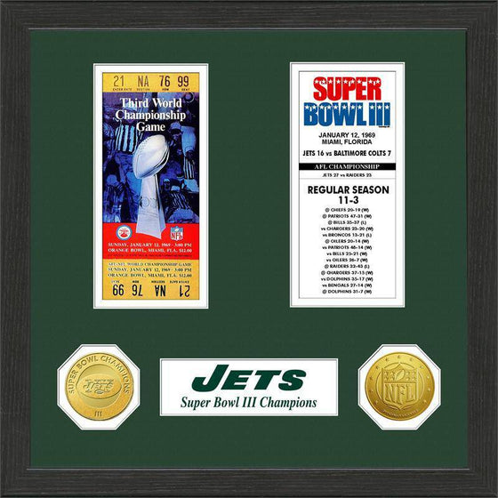 NFL New York Jets Super Bowl Champions Framed Ticket w/ Collectible Coins