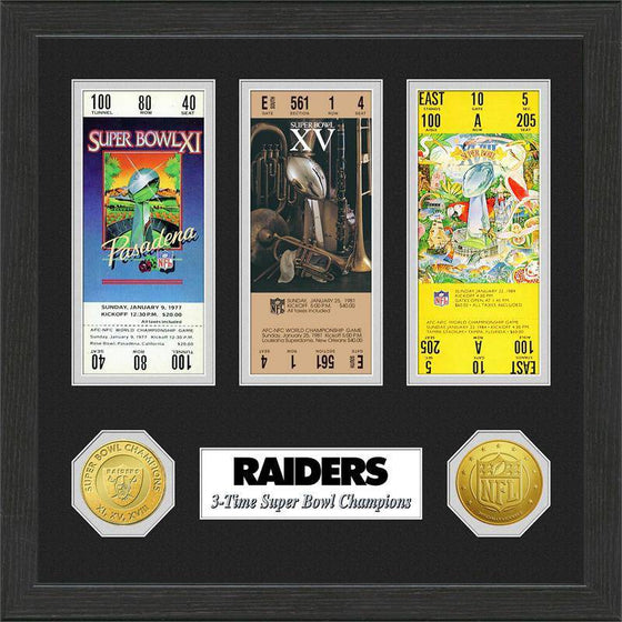 NFL Oakland Raiders 3-Time Super Bowl Champions Framed Tickets w/ Collectible Coins