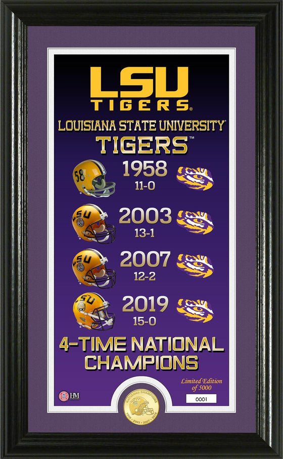 "Louisiana State LSU 2019-2020 NCAA Football National Champions 4-Time National Champions ""Legacy"" Bronze Coin Photo Mint"