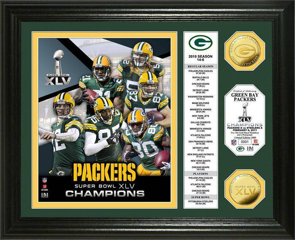 Green Bay Packers Super Bowl XLV Champions 24KT Gold Coin Banner Photo Mint (HM)