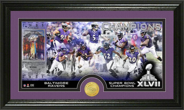 Baltimore Ravens Super Bowl XLVII Champions Bronze Coin Pano Photo Mint (HM)