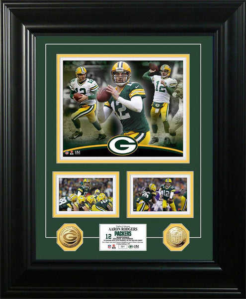 "Green Bay Packers Aaron Rodgers ""Marquee"" Gold Coin Photo Mint (HM)"