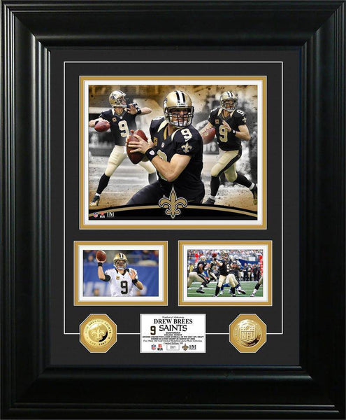 "New Orleans Saints Drew Brees ""Marquee"" Gold Coin Photo Mint (HM)"