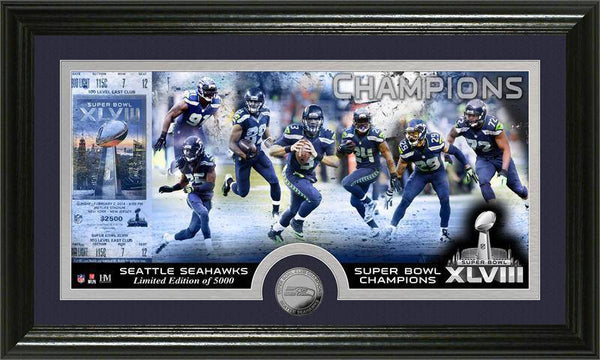 Seattle Seahawks Super Bowl 48 Champions Minted Coin Panoramic Photo Mint (HM)
