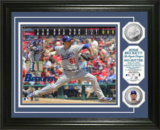 "Los Angeles Dodgers Josh Beckett ""No Hitter"" Silver Coin Photo Mint (HM)"