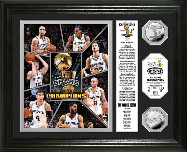 "San Antonio Spurs 2014 NBA Finals Champions ""Banner"" Silver Coin Photo Mint (HM)"