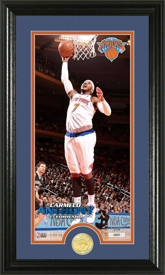 New York Knicks Carmelo Anthony Bronze Coin Panoramic Photo Mint (HM)