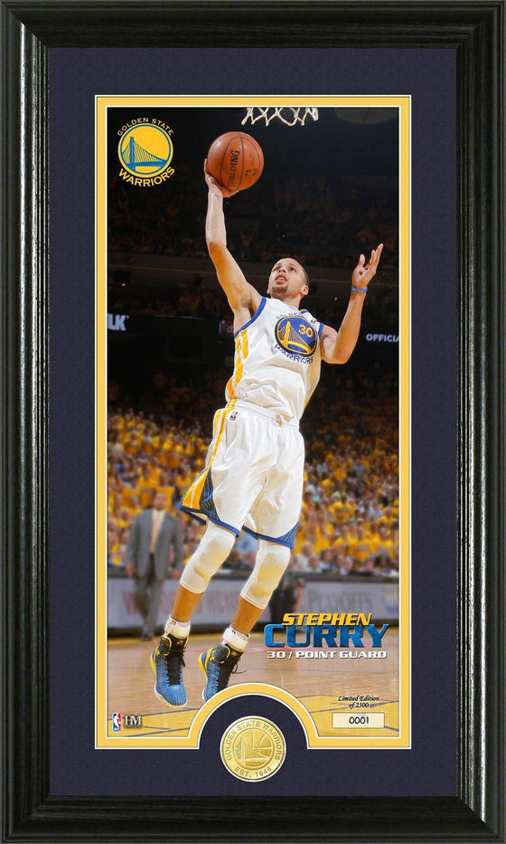 Golden State Warriors Stephan Curry Bronze Coin Panoramic Photo Mint (HM)