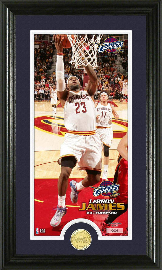 Cleveland Cavaliers LeBron James Bronze Coin Panoramic Photo Mint (HM)