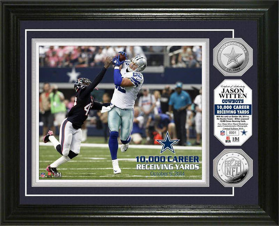 "Dallas Cowboys Jason Witten ""10,000 Yards"" Silver Coin Photo Mint (HM)"
