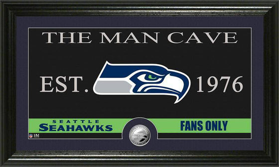 "Seattle Seahawks ""The Man Cave"" Minted Coin Panoramic Photo Mint (HM)"