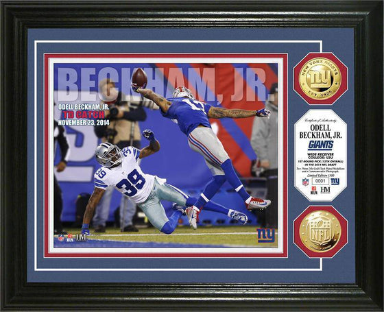 "New York Giants Odell Beckham Jr. ""TD Catch"" Gold Coin Photo Mint (HM)"