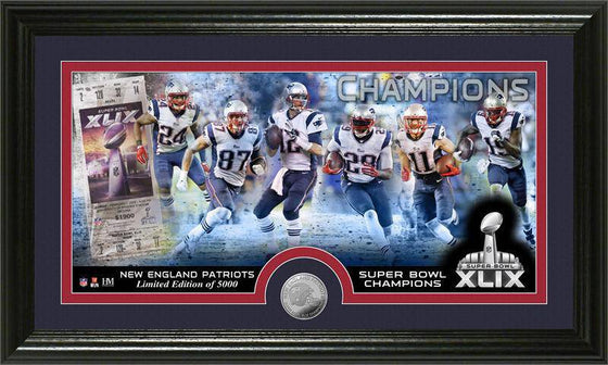 New England Patriots Super Bowl XLIX Champions Minted Coin Panoramic Photo Mint (HM)