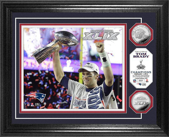 "New England Patriots Tom Brady Super Bowl XLIX Champion ""Trophy"" Silver Coin Photo Mint (HM)"