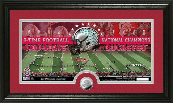 Ohio State Buckeyes Ohio State University 8-time Football National Champions Minted Coin Panoramic Photo Mint (HM)