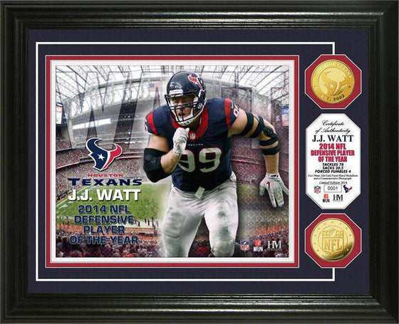 Houston Texans  J.J. Watt 2014 NFL Defensive Player of the Year Gold Coin Photo Mint (HM)
