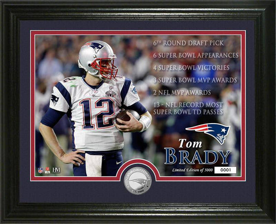 "New England Patriots Tom Brady ""Career"" Silver Coin Photo Mint (HM)"