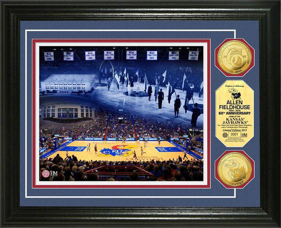 "Kansas Jayhawks Allen Field House ""60th Anniversary"" Gold Coin Photo Mint (HM)"