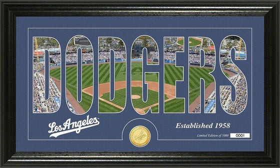 "Los Angeles Dodgers ""Silhouette"" Bronze Coin Panoramic Photo Mint (HM)"
