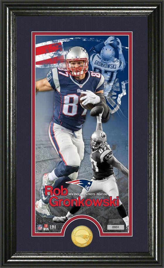 "New England Patriots Rob Gronkowski ""Supreme"" Bronze Coin Panoramic Photo Mint (HM)"