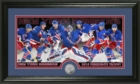 New York Rangers 2015 Presidents Trophy Minted Coin Panoramic Photo Mint (HM)