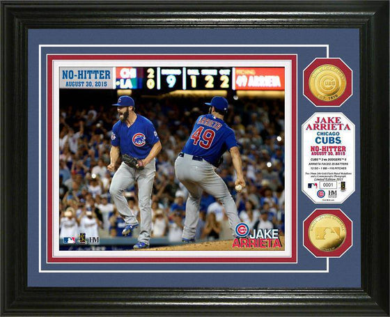 "Chicago Cubs Jake Arrieta ""No-Hitter"" Gold Coin Photo Mint (HM)"