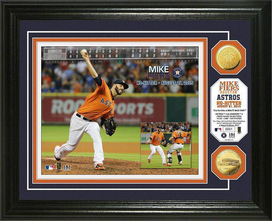 "Houston Astros Mike Fiers ""No-Hitter"" Gold Coin Photo Mint  (HM) - 757 Sports Collectibles"