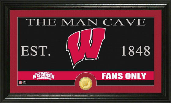 "Wisconsin Badgers University of Wisconsin ""Man Cave"" Bronze Coin Panoramic Photo Mint (HM) - 757 Sports Collectibles"