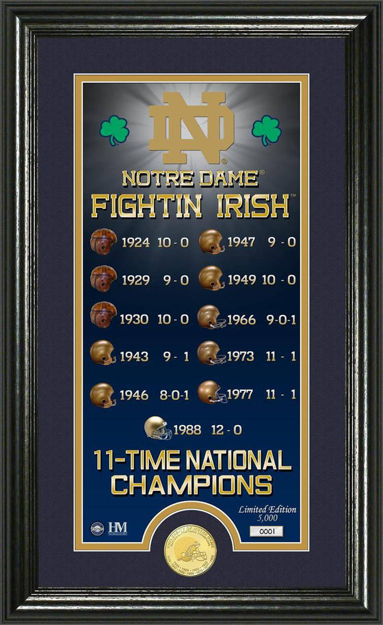 "Notre Dame Fighting Irish University of Notre Dame ""Legacy"" Supreme Bronze Coin Panoramic Photo Mint (HM) - 757 Sports Collectibles"