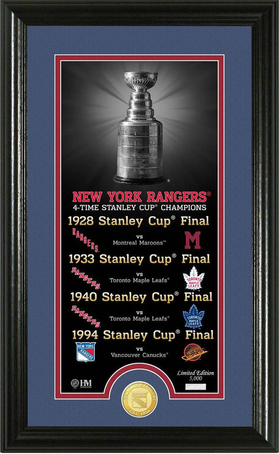 "New York Rangers ""Legacy"" Supreme Bronze Coin Panoramic Photo Mint (HM)"