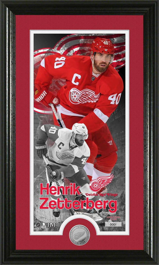 Detroit Red Wings Henrick Zetterberg Supreme Minted Coin Panoramic Photo Mint (HM)