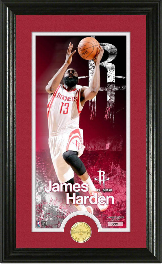 "Houston Rockets James Harden ""Supreme"" Bronze Coin Panoramic Photo Mint (HM)"
