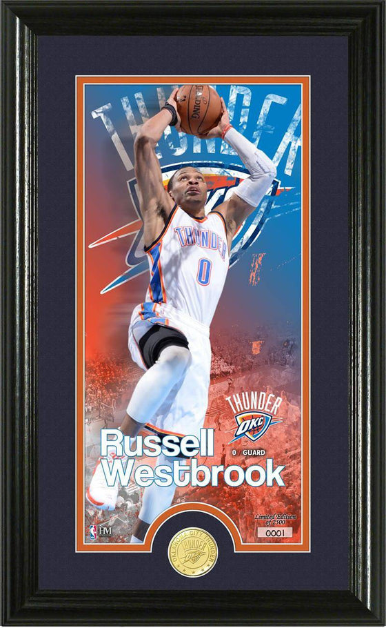 "Oklahoma City Thunder Russell Westbrook ""Supreme"" Bronze Coin Panoramic Photo Mint (HM)"