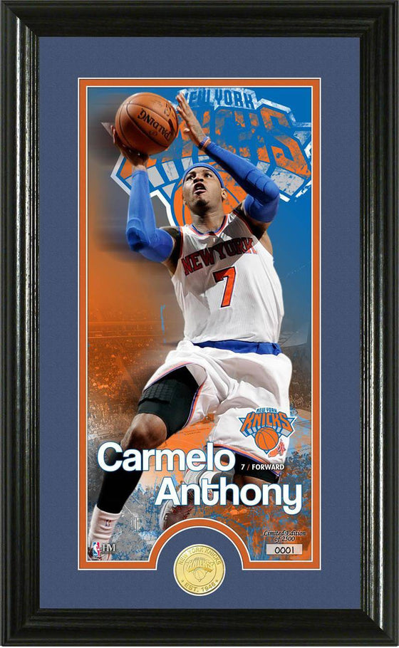"New York Knicks Carmelo Anthony ""Supreme"" Bronze Coin Panoramic Photo Mint (HM)"