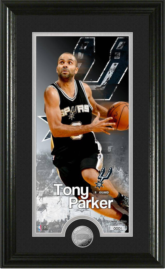 "San Antonio Spurs Tony Parker ""Supreme"" Minted Coin Panoramic Photo Mint (HM) - 757 Sports Collectibles"