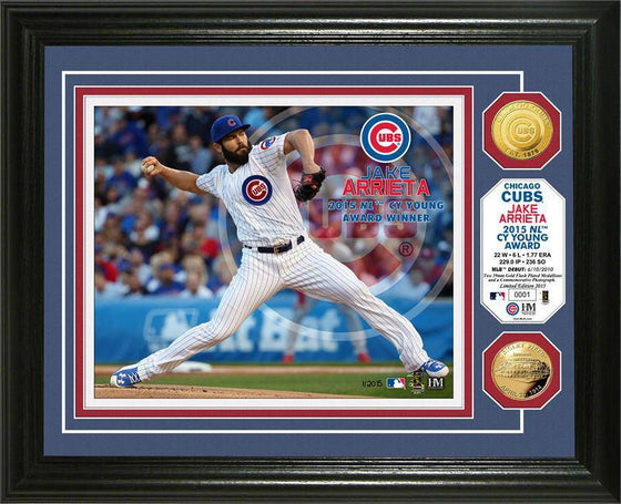 "Chicago Cubs Jake Arrieta ""NL Cy Young"" Gold Coin Photo Mint (HM)"