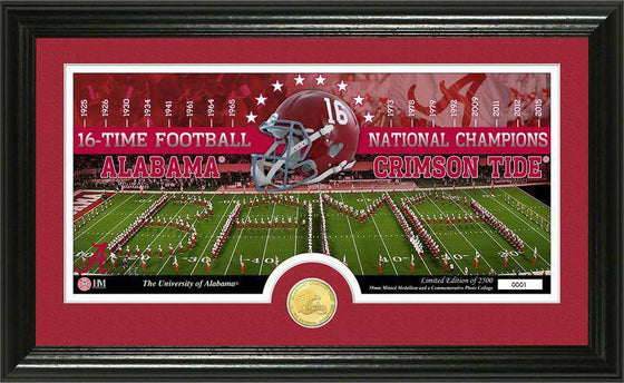 Alabama Crimson Tide University of Alabama 16-time Football  National Champions Bronze Coin Pano Photo Mint (HM) - 757 Sports Collectibles
