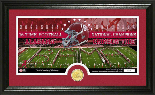 Alabama Crimson Tide University of Alabama 16-time Football  National Champions Bronze Coin Pano Photo Mint (HM)
