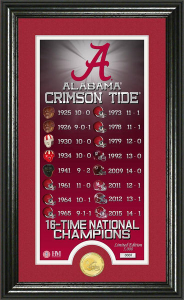 "Alabama Crimson Tide University of Alabama 16-time Football National Champions ""Legacy"" Minted Coin Photo Mint (HM)"