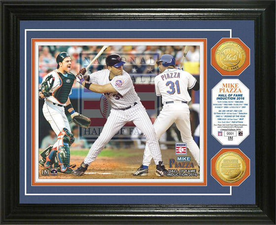 New York Mets Mike Piazza 2016 Hall of Fame Induction Gold Coin Photo Mint (HM) - 757 Sports Collectibles