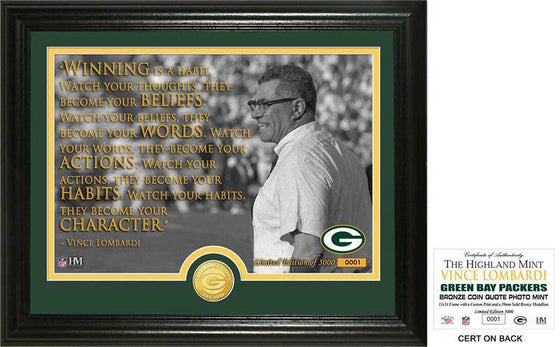 "Green Bay Packers Vince Lombardi ""Quote"" Bronze Coin Photo Mint (HM) - 757 Sports Collectibles"