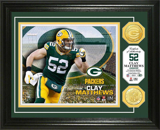Green Bay Packers Clay Matthews Bronze Coin Photo Mint (HM)