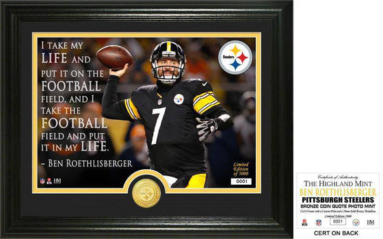 "Pittsburgh Steelers Ben Roethlisberger ""Quote"" Bronze Coin Photo Mint (HM) - 757 Sports Collectibles"