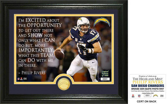 "San Diego Chargers Philip Rivers ""Quote"" Bronze Coin Photo Mint (HM)"