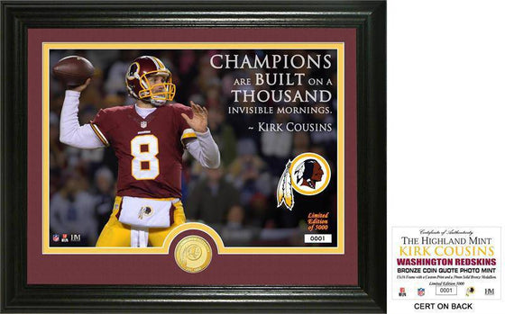 "Washington Redskins Kirk Cousins ""Quote"" Bronze Coin Photo Mint (HM)"